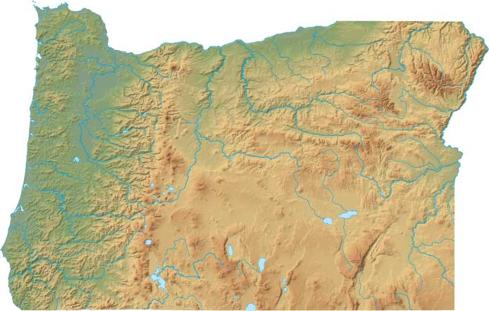 Oregon relief map